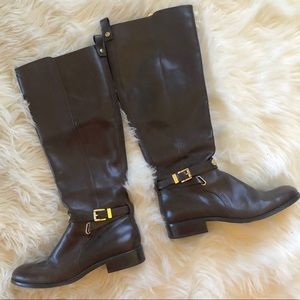Michael Kors Dark Brown Leather Riding Boots
